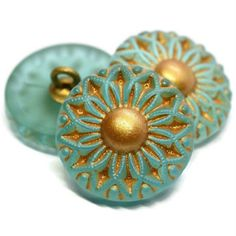 Beautiful Flower White w// Gold Accents Czech Glass Flower Shank Button  22mm