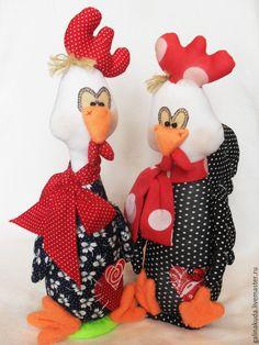 Купить Петушки Гаврила и Егорка - ярко-красный, красный, белый, петух, петушок, петухи, петушки