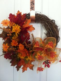 Autumn Harvest Grapevine Wreath.