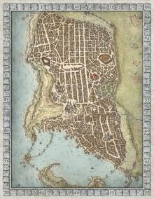 Welcome to the port city of Waterdeep! This updated map of the fabled Forgotten Realms city was developed from the one I originally created for the critically acclaimed tabletop board game Lords of Waterdeep;