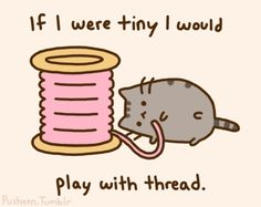 Pusheen: If I were tiny I would play with thread