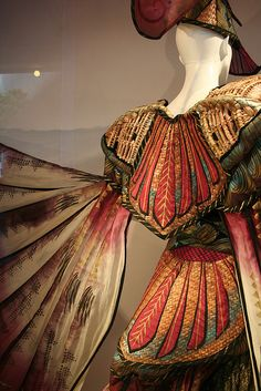 World of Wearable Art Display Amazing winged creation in the window of Kirkcaldies.