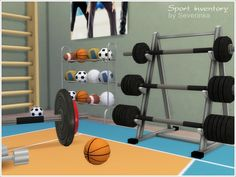 Set of objects of sports equipment, to decorate the gym. Found in TSR Category 'Sims 4 Miscellaneous Sets'