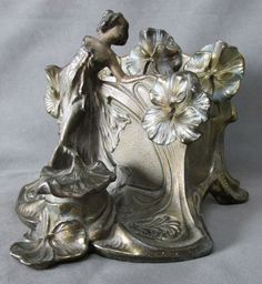 Lovely Art Nouveau Lady with Poppy Flowers Letter Holder, Inkwell