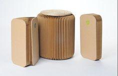 Sitz Akkordeon Hocker mit Auflage Pappe Papier rund Ø 36 cm bis 300 Kg belastbar in Möbel & Wohnen, Möbel, Sitzbänke & Hocker | eBay
