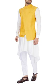 Buy Mustard yellow silk solid nehru jacket by Dhruv Vaish at Aza Fashions Nehru Jacket For Men, Nehru Jackets, Mens Indian Wear, Groom Wedding Dress, Sherwani, Mustard Yellow, Fashion Online, Shirt Designs, Menswear