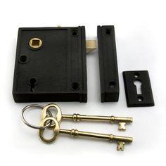 Vertical Iron Rim Lock Set with Brown Porcelain Knobs - Right Hand - Black Powder Coat