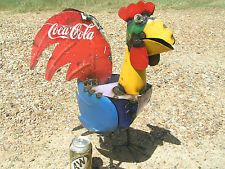 Recycled Junk Iron Rooster Metal Yard Art Sculpture Garden Coca Cola 7