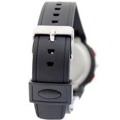 Cronógrafo alarma BackLight Negro Bisel señoras de las mujeres del reloj análogo digital AW372A
