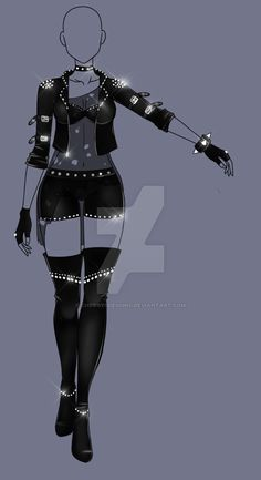 Leather and studs character design character outfit black color scheme Drawing Anime Clothes, Dress Drawing, Drawing Art, Drawing Rocks, Clothing Sketches, Dress Sketches, Fashion Design Drawings, Fashion Sketches, Fashion Mode