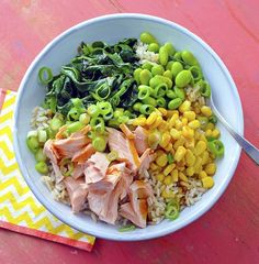 quick dinner, easy dinner, fast dinner, Lent, salmon recipes, easy salmon recipes, seafood recipes, healthy dinner, grain bowl recipes, rice bowl recipes, corn recipes, edamame recipes, healthy dinner ideas Seafood Dishes, Seafood Recipes, Corn Recipes, Kid Recipes, Easy Salmon Recipes, Healthy Recipes, Healthy Meals, Whole Grain Brown Rice, Giant Food