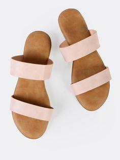 6af862289e Double Strap Slip On Sandals BLUSH