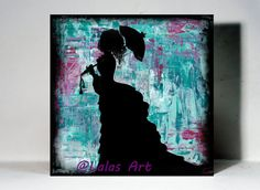Vintage style stencil Art Girl with Parasol by LalasArtWorld