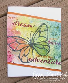 Brusho butterfly beautiful day mixed media stampin up sequins watercolor card medium Lyssa