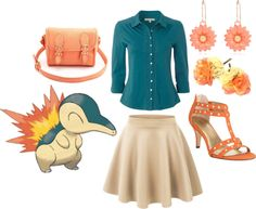 Cyndaquil by catloverd featuring a stretch skirt White Stuff cotton shirt, $50 / Stretch skirt / Style & Co. studded high heel sandals / Charlotte Russe crossbody shoulder bag / River Island orange earrings, $5.04 / Topshop hair accessory, $30