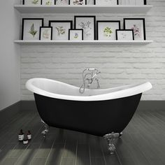 Shop the Earl Black 1750 Double Ended Roll Top Slipper Bath w. Ball + Claw Leg Set, the perfect centerpiece for any traditional bathroom.