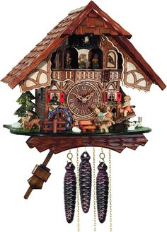 River City Clocks MD468-13 One Day Musical Cuckoo Clock Cottage with Boy and Girl on Seesaw