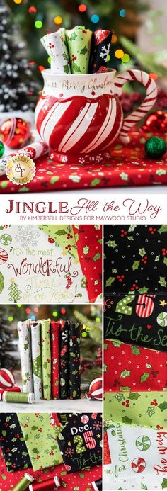 Jingle All the Way fabric collection features delightful Christmas presents, trees, ornaments and so much more! Shop the available yardage and fat quarter sets now at www.shabbyfabrics.com!