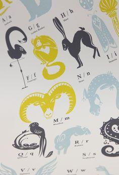 Animal Alphabets: Beautiful animal alphabet prints
