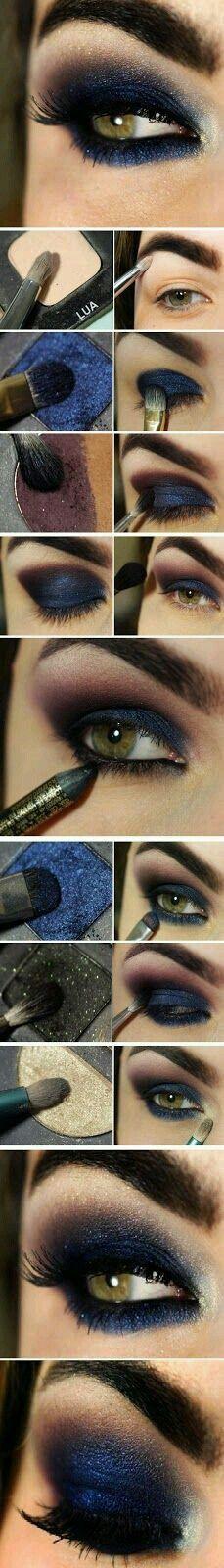 dark blue eyeshadow - wonder how that would look with blues eyes