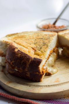 Mozzarella and red pesto grilled cheese.