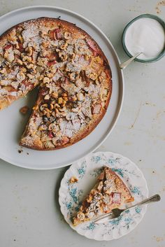 rhubarb, candied hazelnut, and buckwheat cake