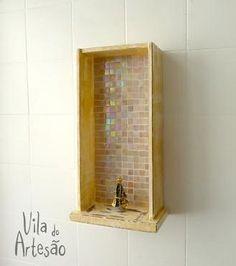 Faça um oratório com uma gaveta usada e técnica de mosaico.  #craft #diy