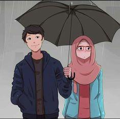 Payung by SaikoJay Love Cartoon Couple, Cute Love Cartoons, Cute Couple Drawings, Cute Couple Art, Cute Muslim Couples, Cute Couples, Cartoon Drawings, Cartoon Art, Girl Drawings