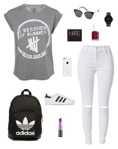 """5SOS"" by gimcdonnell ❤ liked on Polyvore featuring adidas Originals, Charlotte Russe, Urban Decay, Essie, The Horse, NARS Cosmetics and Apple"