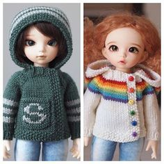 The House Sweater is knit seamlessly, from the top down, in fingering weight yarn. It fastens with 1 or more snaps on the seed stitch button band. No sewing up is required! Knitting pattern for Littlefee / YOSD by Kristin Maw (Jay Bird Finnigan)