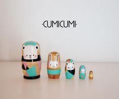 HAPPY+RETRO+MATRYOSHKA+de+•CUMICUMI•+por+DaWanda.com