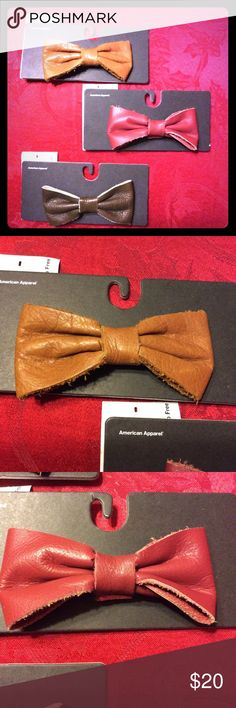 3 American apparel leather bow tie hair clips. American apparel super soft leather bow tie hair clips. 3 included in bundle. Colors : merlot /brown/ camel. Other colors available. American Apparel Accessories Hair Accessories