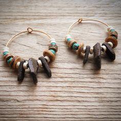 Boho Clay earrings, Earthy earrings, Tribal Style Earrings, Hippie Earthy earrings, Unique Boho Earrings, Ceramic earrings, Gift for her