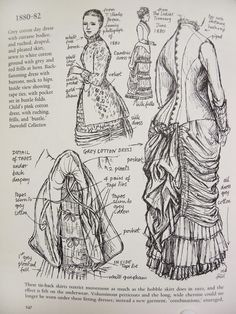1880- 1882: Victorian fashion plate, illustration from (unknown) book. Grey cotton day dress with cuirasse bodice and ruched, draped and pleated skirt, sewn to white cotton ground with grey and red frills at hem.  Tie back skirts.
