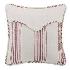 HiEnd Accents Bandera Red & White Stripe Western Envelope Pillow 18 Square - Matches Bandera bedding collection  #DelectablyYours Western Bed and Bath Home Decor