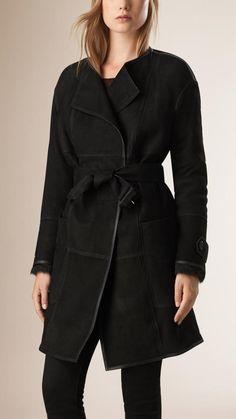 Burberry Shearling Wrap Coat