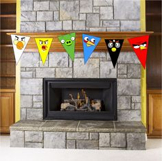 Celebrate the Angry Birds this summer with this free printable pennant banner. These five birds and one pig will have your home squaking with loads of fun at your next Angry birds party.