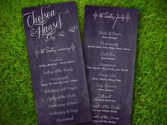Wedding Program Card - Vintage Chalkboard Textured Customizable Double Sided DIY Printable $20 LOVE this one!!