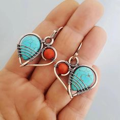 Wire wrapped heart earrings copper heart earrings turquoise