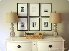 "thrifty gallery: use 11X14 frames from the dollar tree and posterboard for ""gallery"" mats."