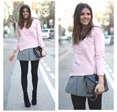 Sudadera y falda/ Gris y rosa