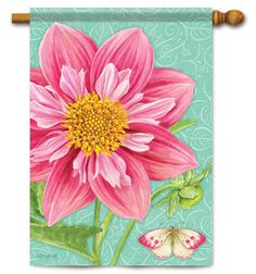 Botanical Dahlia Decorative Garden Flag