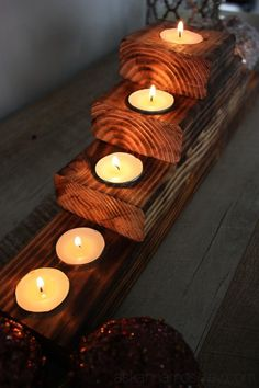 rustic tealight holder {the wood is burned not stained and looks so cool}