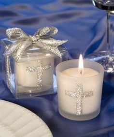 Silver Cross Themed Candle  T- lights and Favours - First Holy Communion Candles Table Decorations - Communion Themed Partyware and Party Su...
