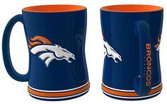 Denver Broncos 14oz Blue Sculpted Relief Coffee Mug