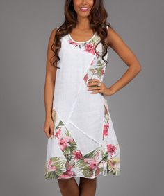 White & Pink Floral Esmeralda Linen Shift Dress   something special every day