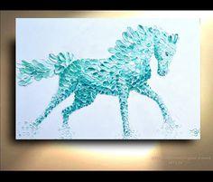Horse Painting Green Teal Aqua Canvas Nursery Decor Art Oil Original Artworks White Arabian Stallion animals by OTO