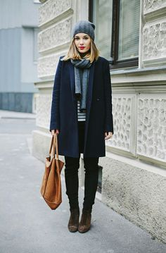 love the mix of the red lip and masculine coat