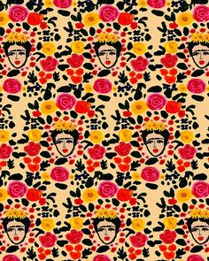 Frida Kahlo by Bouffants & Broken Hearts/ Kendra Dandy. Surface Pattern Illustrator and Textile Designer. Textile Prints, Textile Patterns, Textile Design, Art Prints, Lino Prints, Floral Patterns, Block Prints, Frida E Diego, Frida Art