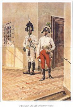 1809: Grenadier and Major General by Rudolf Otto von Ottenfeld (Austrian, painter 1856-1913)